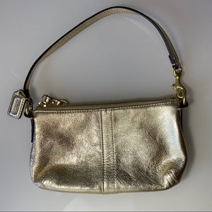 Coach | Small Gold Leather Handbag / Wristlet